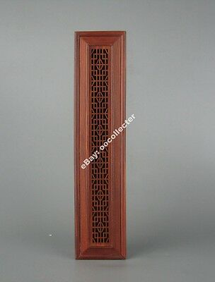 """red suan-zhi hard wood rosewood carved China flower design incense box 10"""""""