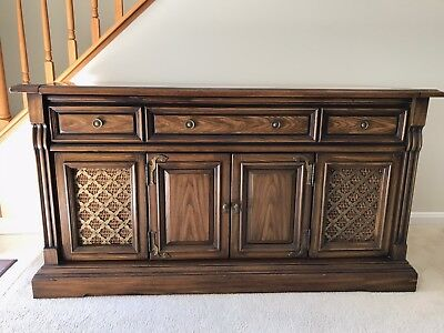 Vintage Magnavox Console Stereo Record Player Cassette Player Wood Cabinet