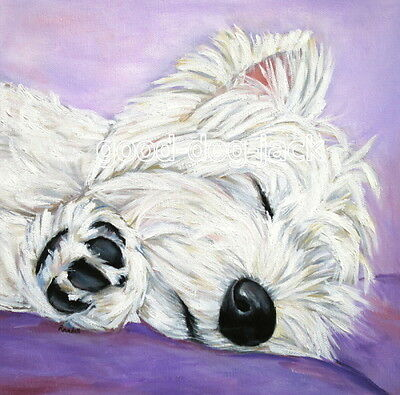 """West Highland Terrier WESTIE MATTED SQUARE PRINT  """"TALK TO THE PAW""""  RANDALL"""