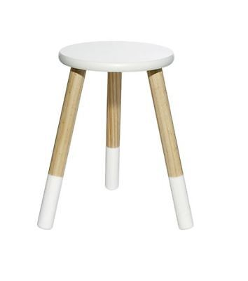 Wooden Child's Stool / Bedside Table - Dipped White Seat & Legs - Sturdy Design
