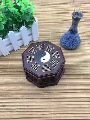 display China red hard woode carved the Eight Diagrams rosewoo incense burner