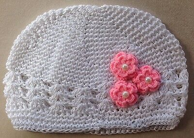 Baby Girls Beanie Hat Infant White Cotton Crochet Kufi Kids Cap Photo Prop