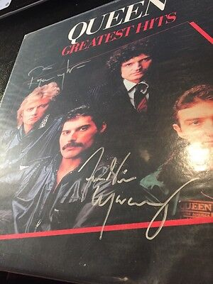 Queen Freddy Mercury & Roger Taylor (drums) Autographed No Vinyl Deceased Signed