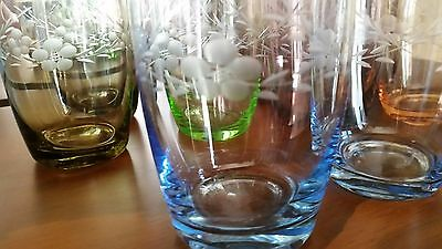 Vintage Beautiful 10 x Harlequin  ETCHED drinking glasses