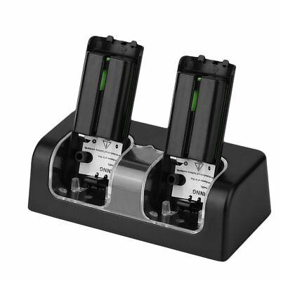 Twin Remote Dual Charger Dock For Nintendo Wii + 2 Rechargeable Battery Pack