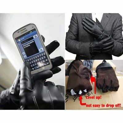 Men Black Motorcycle Touch Screen Gloves Full Finger Winter Leather Warm Upgrade