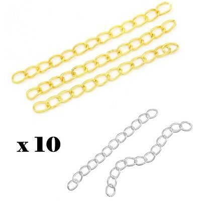 10x Extension Extender Chains 50mm*3mm Jewellery Making Repair Component