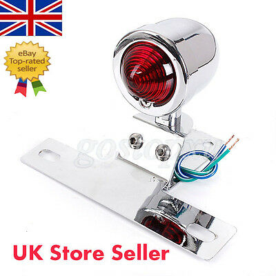 Red Motorcycle Chrome Bullet Rear Lamp License Plate Tail Light Amber For Harley