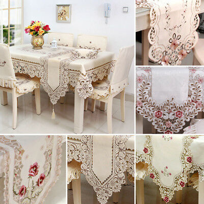 Elegantly embroidered lace top quality table runners for furniture & home deco