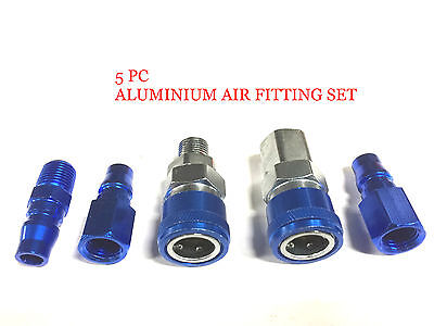 Coupler 5pc Set Aluminium Air Fittings Air Hose Compressor Nitto Style Air Tool