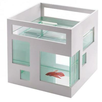 Contemporary Small Fish Tank Hotel Mini Fresh Cold Water Goldfish Aquarium White