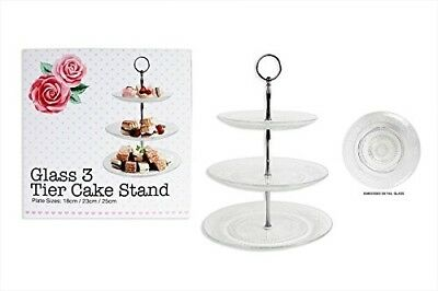 Brand New Embossed Clear Glass 3 Tier Cake Stand AM1795. RSW. Huge Saving