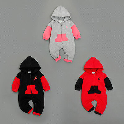 New Baby Jordan Hooded Romper Newborn Todder Wool Babygrow Outfits Bodysuit Sets
