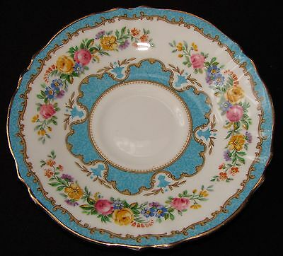 """Beautiful English Crown Staffordshire Tunis Blue/Turquoise China Saucer 5.75"""""""