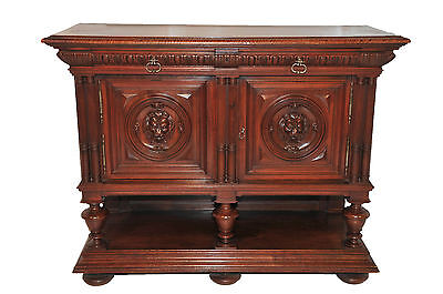 Antique Henry II French Renaissance Server, Walnut, 19th Century