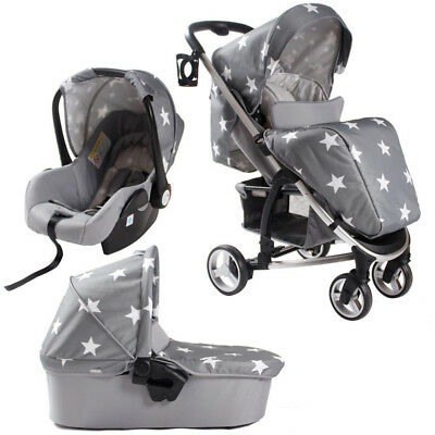 Billie Faiers Travel System in Grey Stars, Pushchair, Car Seat & Carry Cot Pram