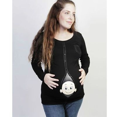 Womens Funny Baby Print Maternity Pregnant Long Sleeve T-shirt Loose Plus Size