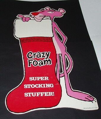 1975 Pink Panther CRAZY FOAM Store Display Sign