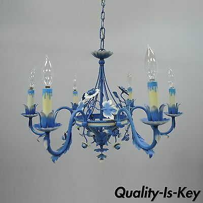 Vtg Blue & White Country French Cottage Tole Metal Chandelier Toleware Floral
