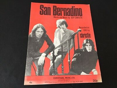 """Collectable 1970 Sheet Music Of """"san Bernadino"""" By Christie In Very Good Order"""