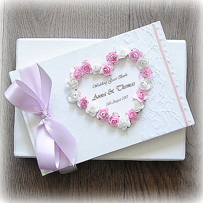 Luxury Personalised Wedding Guest Book/ Handmade Boxed