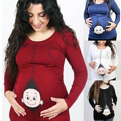 Womens Maternity Pregnant Long Sleeve Funny Baby Probing T-shirts Loose Tops