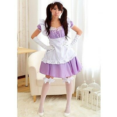 Kawaii  Maid Cafe Lavender Purple Lace Anime Cosplay Costume w/ headband USED