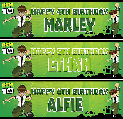 2 x personalised Ben 10 birthday banner boys kids party children any name age