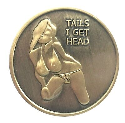 Poster Pin Up Bikini Girl Heads Tails Good Luck Challenge Coin Art Gift for Man