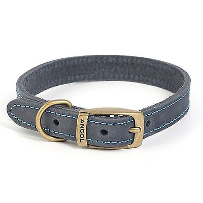 Ancol Timberwolf Leather Dog Puppy Collar Lead Sable Brown Blue Navy Grey