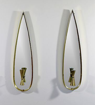 Mid Century Modern Pair of Mirror Candle Sconces Wall Hanging Light Fixtures