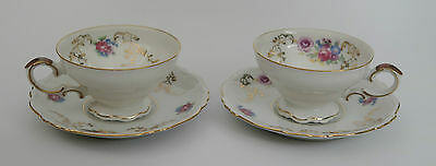 Pair of Heinrich & Co. Selb Bavaria porcelain cabinet cups and saucers c1939