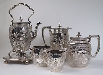 Silver plated Anglo-Indian Raj tea service c1890. Briddon Brothers Sheffield.