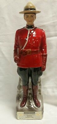Vintage CANADIAN MIST WHISKEY Ceramic MOUNTY DECANTER Burton Dist. Series A-1969