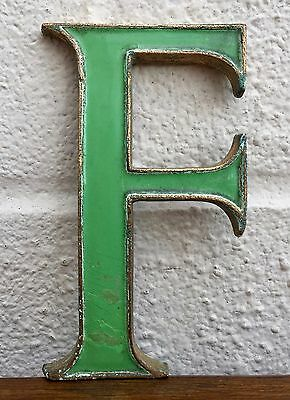 "-LETTER F- EARLY C20th VINTAGE 4"" BRASS/ENAMEL SHOP ADVERT ALPHABET DISPLAY SIGN"