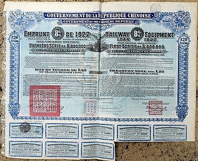 Chinese Republic -£20 Railway Equipment Loan 1922- Government Share Certificate