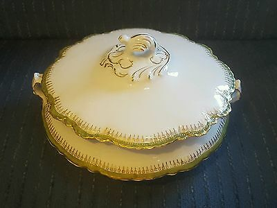 Beautiful antique Homer Laughlin Hudson covered Serving Dish green gold crazing