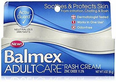 Balmex Adult Care Rash Cream Relief Soothes Protects Skin Odor Free 3oz 12/2017