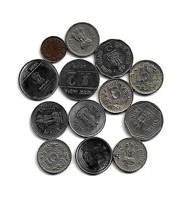 India: Mixed Lot of 13 Indian Coins from 1944-2012