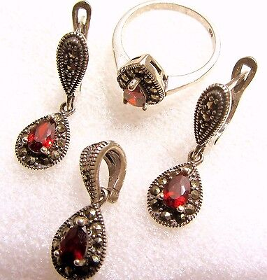 Sterling Silver 925 Marcasite Earrings And Pendant Set #200
