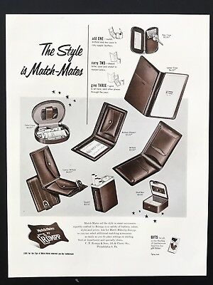 1953 Vintage Print Ad MATCH MATES by RUMPP Wallet Men's Fashion Billfold