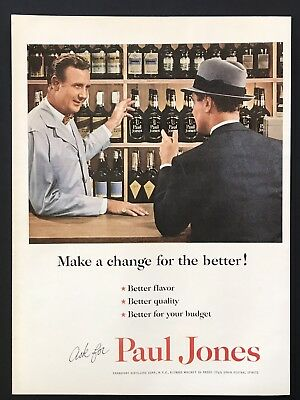 1953 Vintage Print Ad PAUL JONES Whiskey Shopping Liquor Selection Image