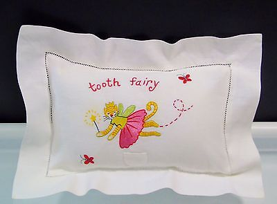 Tooth Fairy Pillow Sham White with Flying Queen Cat Embroidery 8 x 12 Inch