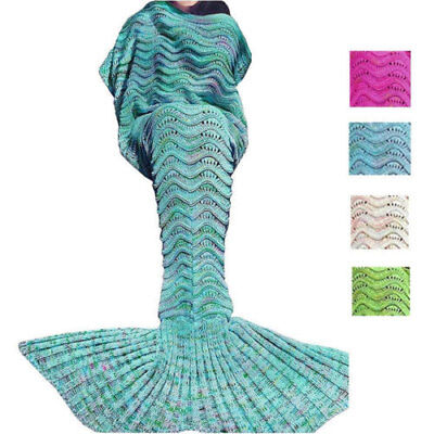 Super Soft Mermaid Tail Blanket Crocheted Cocoon Sofa Bed Sleeping Bag Quilt Rug