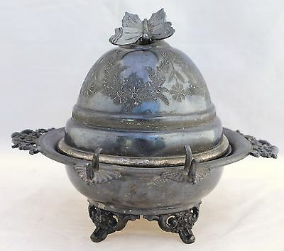 Antique Silver Plate Butter Dish With Butterfly Lid - Monarch Silver Toronto