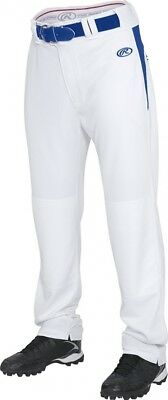 (Large, White/Royal) - Rawlings Youth Semi-Relaxed Pants with Waist Inserts. Bes