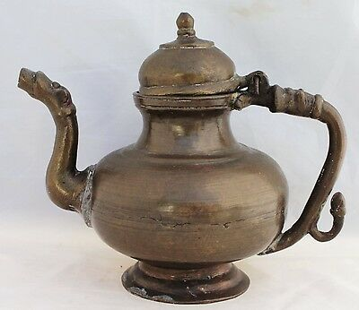 Heavy Antique Indian Teapot - Solid Bronze With Animal Head Spout
