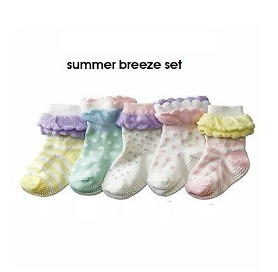 SET of 5 × Double Ruffle Frill Toddler Kids Girl Skid Cotton Socks 1-3 years old