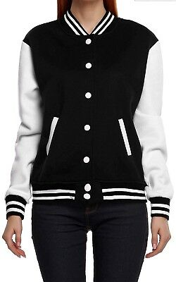 (XX-Large, Black) - Meaneor Women's Long Sleeve Baseball Jacket Coats Outerwear