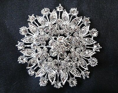 Wedding Bridal Bouquet Crystal Rhinestone Silver Flower Vintage Brooch Pin NEW